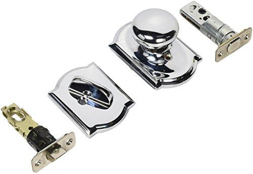 f59ply625cam helles Chrom Plymouth Innen Pack-Knauf Set Mit 1Zylinder Riegel und dekorativer Camelot Rosen (Tür Knopf Und Riegel Lock Set)