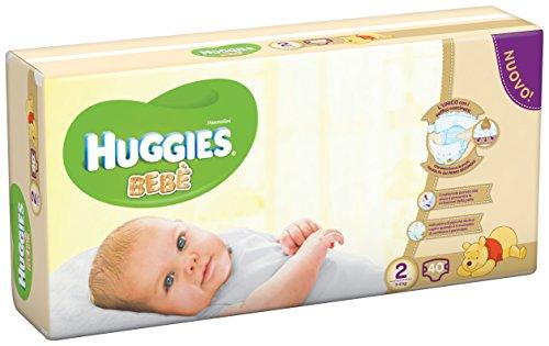 Huggies Bebè, Taglia 2 (3-6 kg), 40 Pannolini