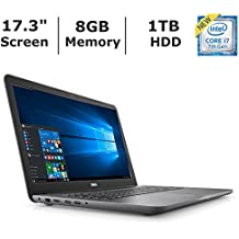 "Dell Inspiron 17 5000 Flagship High Performance Laptop, 17.3"" Full HD 1080P Display, Intel Core I7-7500U Processor, 8GB RAM, 1TB HDD, 4GB AMD M445 Dedicated Graphics, DVD, WiFi, HDMI, Win 10, Gray"