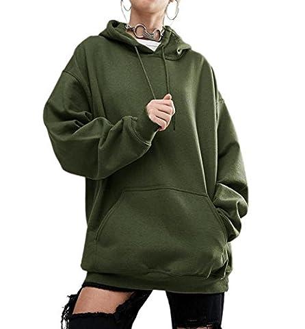 Rcool Frauen lange Ärmel Hoodie O-Neck Sweatshirt Baumwolle Mischung Kapuzenpullover Pullover lässigen Kapuzen-Mantel Pullover Armee-grün
