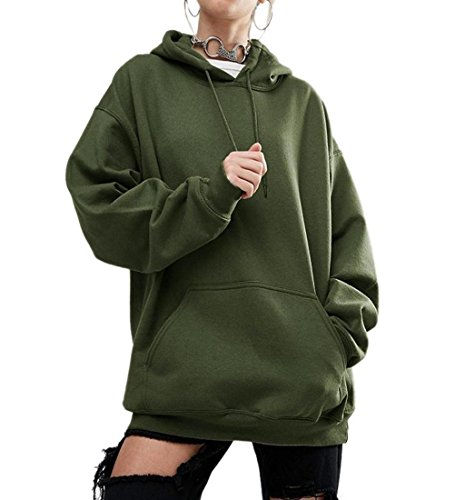 Rcool Frauen lange Ärmel Hoodie O-Neck Sweatshirt Baumwolle Mischung Kapuzenpullover Pullover lässigen Kapuzen-Mantel Pullover Armee-grün (XL) (Hooded Armee Sweatshirt)