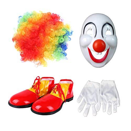 Amosfun 4 stücke Clown Kostüm Sets Karneval Requisiten Karneval Schöne Kreative Leistung Kostüm Set für Mann Frau Mann (perücke, Maske, Handschuhe, Schuhe)