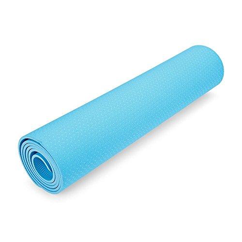 BISOZER Outlife - Alfombrilla de Yoga de Alta Densidad y Ligera, respetuosa con el Medio Ambiente, Saludable y reciclable, Antideslizante, Azul