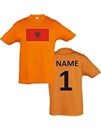 Kids T-Shirt Albanien Albania Ländershirt mit Wunschnamen und Nummer