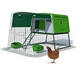 Omlet Eglu Cube Chicken Coop with 2m Secure Steel Mesh Run - Leaf Green - Easy To Clean Plastic
