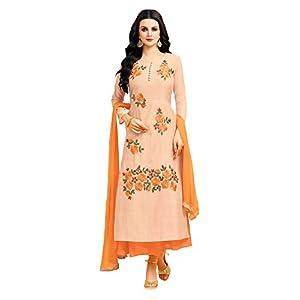 Applecreation Women'S Chanderi Silk Unstitched Dress Material (Peach_Free Size)