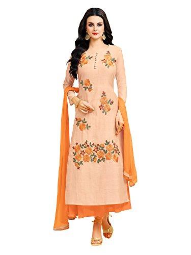 Applecreation Women\'S Chanderi Silk Unstitched Dress Material (Peach_Free Size)
