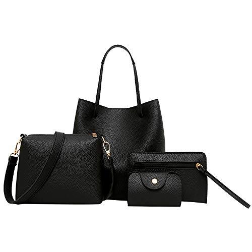 Sfit Damen 4 in 1 Handtasche Set Geldbeutel Litschi-Muster Handytasche mit Quaste Rucksack PU Leder Schultertasche Umhängetasche Brieftasche (Schwarz A) -