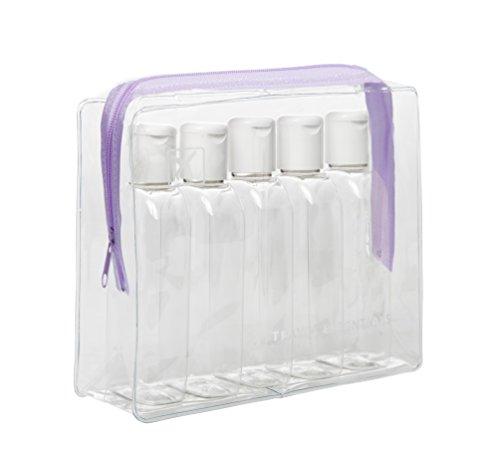 Clair d'avion Vol Voyage Cabine bouteilles 100 ml – Coque transparente + 5 bouteilles – Sécurité Approuvé – Violet