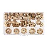 SUPVOX 150 Stück Holzknöpfe süße runde 2 Löcher handgefertigt mit Liebe runde Bastelknöpfe zum Selbernähen basteln 20mm