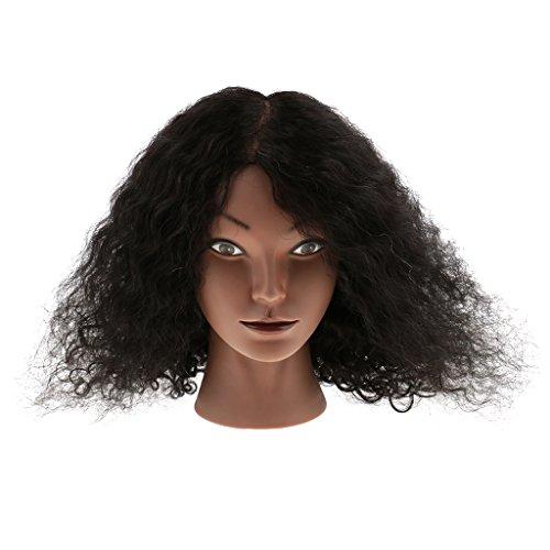Homyl Tête De Mannequin Pour Pratique De Cosmetologie Coiffure Avec Cheveaux Humains Naturels Bouclé - 40cm, 16''