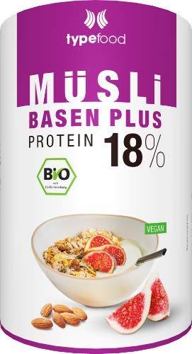 Typefood Basen Plus Müsli - 450 g, zuckerfreies Protein-Müsli mit 18 % pflanzlichem Eiweiß, mit Feigen & Mandeln, Bio Sportnahrung für Fitness, 100 % vegan & laktosefrei, made in Germany