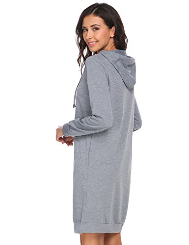 HOTOUCH Damen Hoodie Langarm Sweatkleid Sweatshirt Kapuzenpullover Mit Kapuze & Taschen Typ1-Grau