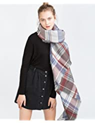 Mujeres moda gran engrosamiento patrón tartán bufanda abrigo chal cuadrado manta acogedora Cachemira imitación 140 * 140cm