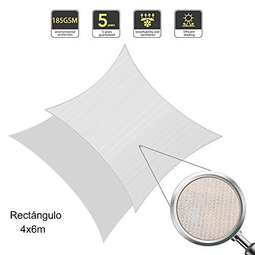 Sunnylaxx Tenda a Vela Rettangolare 4 x 6 Metri, Resistente e Traspirante, per spazi all'aperto, Color Crema