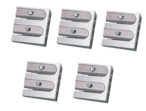 5x Metall Doppel-Anspitzer / Bleistiftspitzer für 2 Stiftdurchmesser