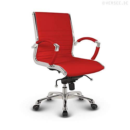 VERSEE Design Bürostuhl Montreal - Echt-Leder - rot - Konferenzstuhl, Meetingstuhl, Drehstuhl, Bürodrehstuhl, Schreibtischstuhl, Ergonomisch, niedrige Rückenlehne, mit Armlehnen, auf Rollen, mit Polsterung, Höhenverstellbar, Wippfunktion, Designklassiker, hochwertige Verarbeitung, massives Metall-gestell, Chrom Büro Sessel, Stuhl, 150 kg belastbarkeit
