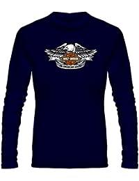 T Shirt - Full Sleeve Round Neck Harley Davidson Biker Graphics Printed 100% Cotton T Shirt - Round Logo Of Harley...