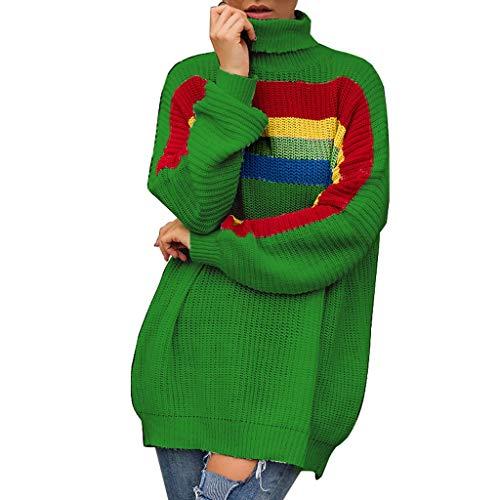 Qingsiy Camisa con Estampado de Arcoiris de Punto a la Moda para Mujer Camiseta de Manga Larga con Cuello Redondo Casual Blusa suéter Traje de otoño Invierno para Mujeres Damas