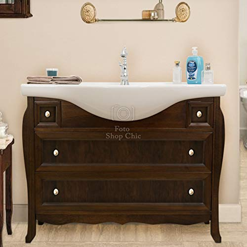 Shop chic arredo bagno in stile classico 107 cm finitura noce base e lavabo