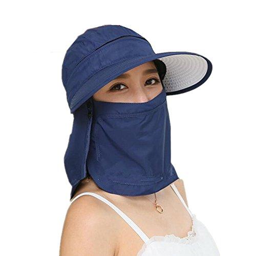 Kappe mit großem Visier, Sonnenblende, faltbarer Sonnenhut, für Radsport, aufsteckbare Zip-Gesichtsmaske, 360° UV-Schutz, ideal für Sport, Fischerei, Reisen, Strand, blau
