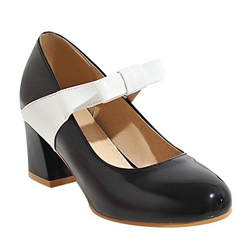 Mee Shoes Damen runde Schleife chunky heels Pumps Schwarz