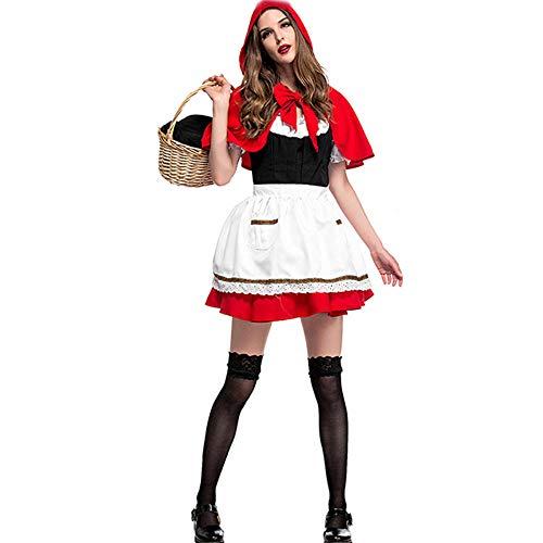 KDWYC Cappuccetto Rosso Adulto da Donna per Carnevale di Halloween Includono: Abito + Copricapo (Taglia Unica)
