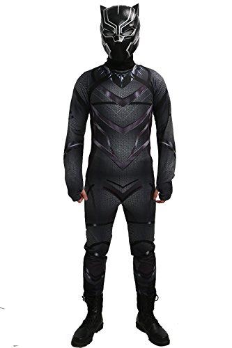 Kostüm Civil Captain Panther Black War America - Schwarz Zentai Cosplay Panther Kühle Abendkleid Overall Halloween Kostüm für Herren Erwachsene Anzug Kleidung