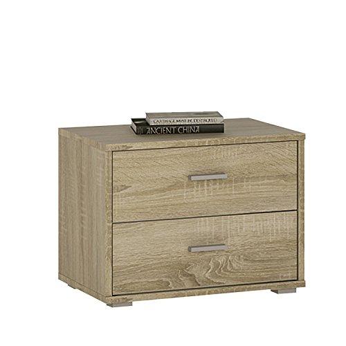 P&N Homewares Crescita 2Schublade Low Brust/Nachttisch in Eiche   Kommode   Möbel   50cm Breit (Kommode Eiche Brust)