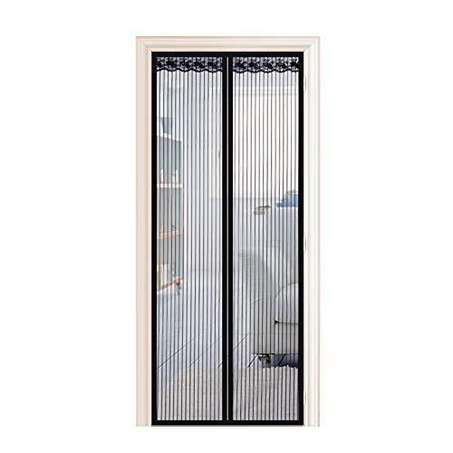 Enllonish Magnet Fliegengitter Tür Insektenschutz Balkontür Fliegenvorhang 90x210cm, Klebemontage Ohne Bohren, Der Magnetvorhang ist Ideal für Terrassentür, Kellertür und Balkontür