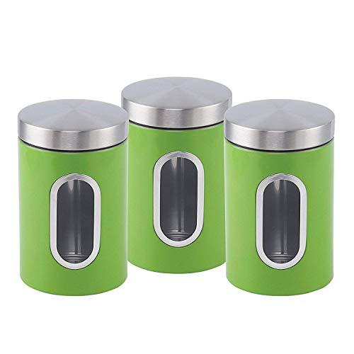 ASAB 3-teiliges Dosen-Set aus Edelstahl für Tee, Zucker, Kaffee, Deckel mit transparentem...