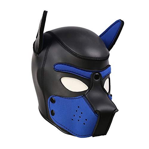 SM Schwamm Hund Kopf Leder Maske Paar Charakter Flirt Hut Maskerade Partei Prop Maske, Puppy Head Mask Kopfbedeckungen Rolle Spielen Tier Cosplay Neuheit Kostüm,blackblue,L