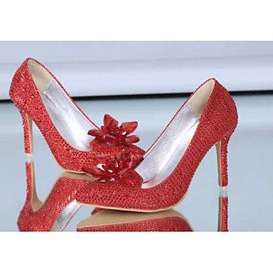 Moda Donna Sandali Sexy donna estate tacchi tacchi in raso elasticizzato Casual Stiletto Heel Sequin Rosso / Bianco Altri White