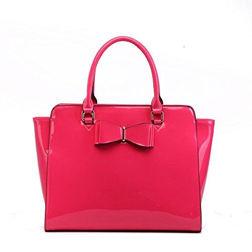 LeahWard® Damen Mode EssenerMittlere Größe Qualität Chic Tragetaschen Handtaschen Bogen Tasche CW51504 Rose
