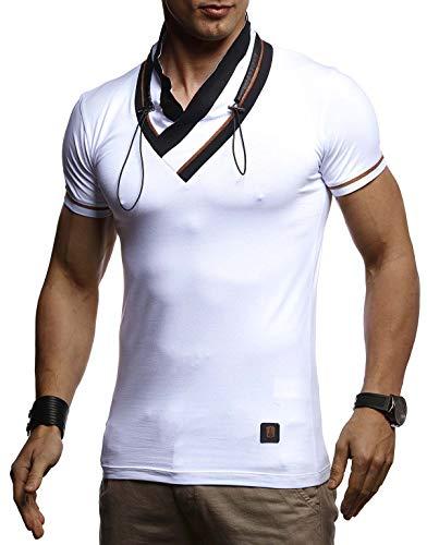 LEIF NELSON Herren Sommer T-Shirt Schalkragen Slim Fit Baumwolle-Anteil | Basic Männer Kurzarmshirt V-Neck Hoodie-Sweatshirt Kurzarm lang | Weißes Jungen Shirt Longsleeve | LN4860 Weiß XX-Large -
