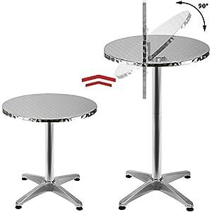 Deuba 2in1 Stehtisch klappbar Bistrotisch Aluminium Edelstahlplatte höhenverstellbar 70cm / 110cm Partytisch Tisch Ø 60cm