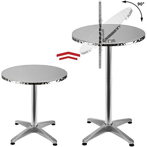2in1 Stehtisch klappbar Bistrotisch Aluminium Edelstahlplatte höhenverstellbar 70cm oder 110cm Partytisch Tisch 60Ø cm
