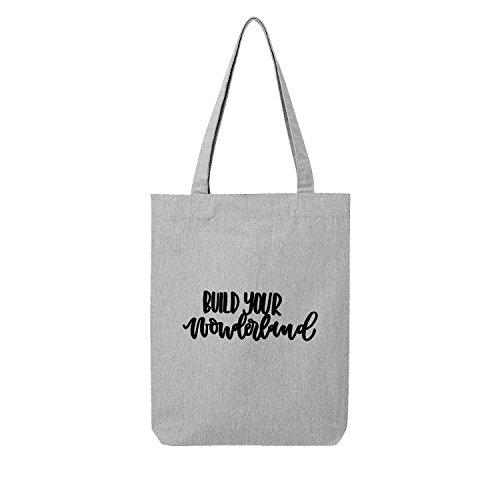 Fossil Grau T-shirt (build your wonderland Bag Frauen Shopper grau Jute Beutel Handtasche Strand Sommer faltbar klein bedruckt Motiv Print (386-U760-Grau))