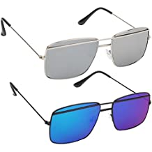 HOB EPICINK WITH DEVICE Stylish Flat Oval Silver & Blue Mirror Metal Frame Classy Unisex Sunglasses Combo (Set Of 2)