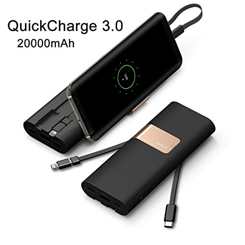 iWALK 20000mAh Errichtet im Type-C Lightning & Micro USB Kabel Externer Batterie Akku Power Bank Tragbare Ladegerät mit Quick Charge 3.0 fur Samsung Galaxy S8 Note8 iPhone 5 6 7 8 Plus X SE Macbook-akku-ladegerät-kabel