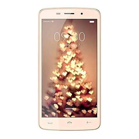 Haehne HOMTOM HT17 PRO - 5,5 Zoll IPS HD Android 6.0 4G Smartphone, 2GB+16GB, 13MP+5MP Dual Kameras Dual SIM, Quad Core Fingerabdruckerkennung, 7,9mm Dicke Schnellladung Handy, Or