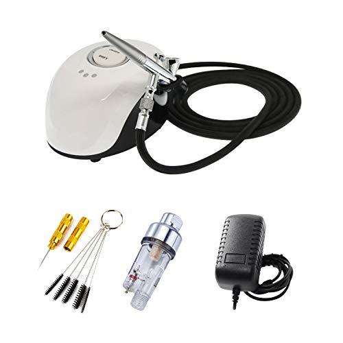 ABEST Professionelles Mini-Airbrush-Kompressor-Set mit 0,4 mm 2 cc Dual-Action Spray Gun Airbrush für Beauty-Make-up, temporäre Tattoos, Basteln, Nagelkunst, Kuchendekoration, Spray-Modell -