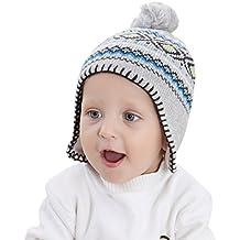 Superora Gorras Niños Algodón Beanie Bebé Gorro Peruano Niña de Punto Cálido para Otoño Invierno