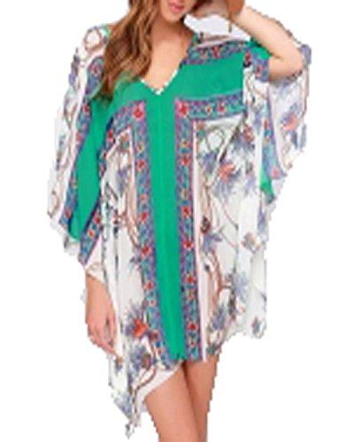 ZANZEA Femme en mousseline de soie Floral Grosse Manches Longues Mini Robe Fleur