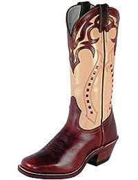 Botas de los EE.UU.-Botas, botas de cowboy BO-4123-64-C (pie normal), diseño de mujer, color Beige y marrón