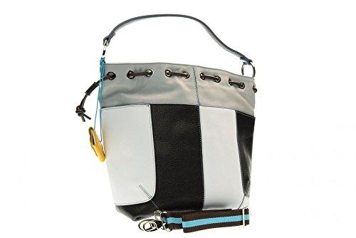 GABS femme sac à main JESS E17 FLAT-TRANS. MULTICOL. MULTIMAT 3541 M Bianco- nero