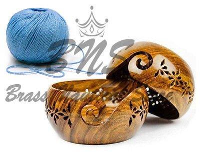 Ovillo de lana cuenco de madera con agujeros nuevo diseño portátil cuenco de hilo para tejer agujeros y gancho soporte Bhartiya artesanía 6 x 6 x 3 Inch Rosewood