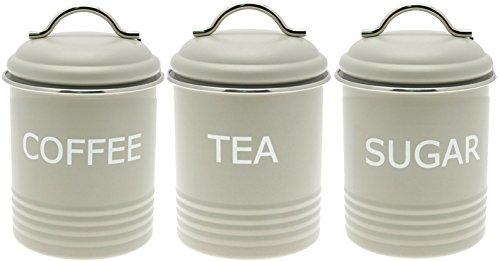 Confezione da 3 pezzi, In metallo, stile Vintage retrò Contenitori per Zucchero, tè e caffè, finitura opaca, colore: verde oliva