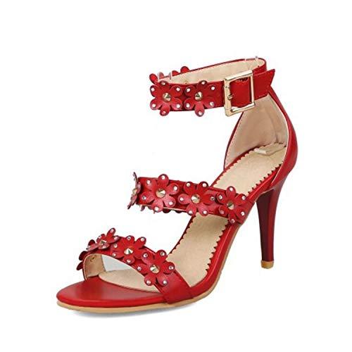 Size 31-48 Women High Heel Sandals Ankle Strap Thin Heels Flowers Sandals Woman Sweet Fashion Shoes Wedding Footwear Red 10.5