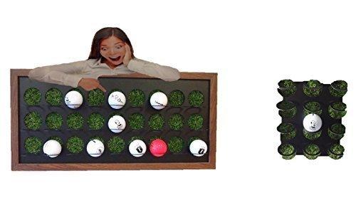 Golf-Ball Vitrine als Bilderrahmen mit Kunstrasen 27 Golfbälle zum stellen und hängen (mittelbraun) neu in Edelstahl poliert - Golf-ball Vitrine